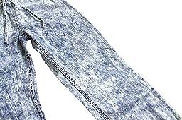 Bienzoe Big Girl\'s Stretchy Drawstring Waist SnowWash Thin Denim Jeans 14