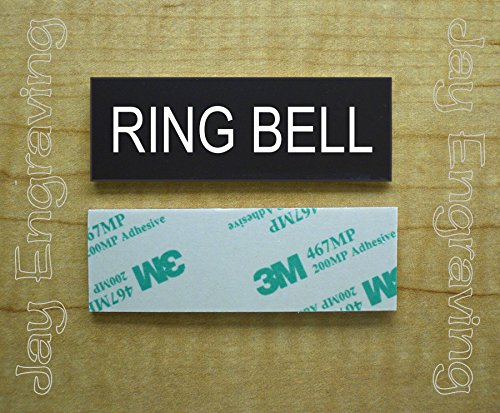 Engraved 1x3 RING BELL Self-Sticking Plate | Black Name Tag Sign | Tag With Adhesive | Engraving Small Business Home Office Wall Door Plaque Doorbell Home Security Safety Signs Sign -