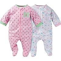 Gerber Newborn Baby Girl Zip Front Sleep N Plays - Butterfly (0-3 Months)
