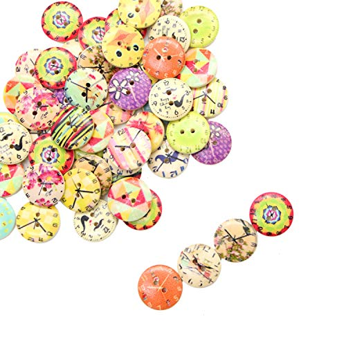 Monrocco 100Pcs Mixed Wooden Buttons Vintage Clock Flower Buttons with 2 Holes Round Wood Buttons