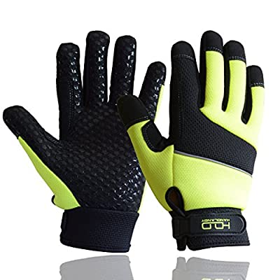 HI-VIS Safety Work Gloves, Firm Grip Mechanic Working Gloves, CR Level 5, Reflective Yellow