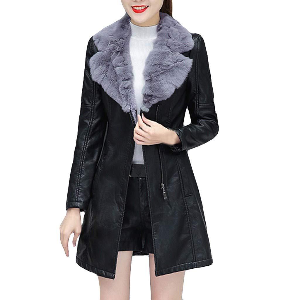 Dainzuy Women's Faux Motorcycle Jacket Fleece Lined Parka Winter Warm Coat Leather Zipper Overcoat Outwear Black by Dainzuy Womens Outerwear
