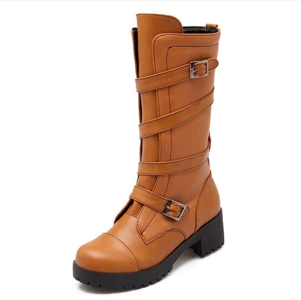 SHANGWU Frauen Damen Biker Calf Stiefel/Chunky Heel Stiefel beiläufige Schnürung Herbst Winter Flat Grip Sohle Armee Kampfstiefel Damen Biker Kalb Stiefel Größe