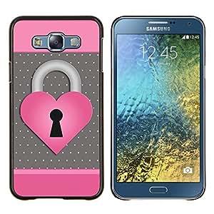 Eason Shop / Premium SLIM PC / Aliminium Casa Carcasa Funda Case Bandera Cover - Corazón del lunar Rosa Gris - For Samsung Galaxy E7 E700