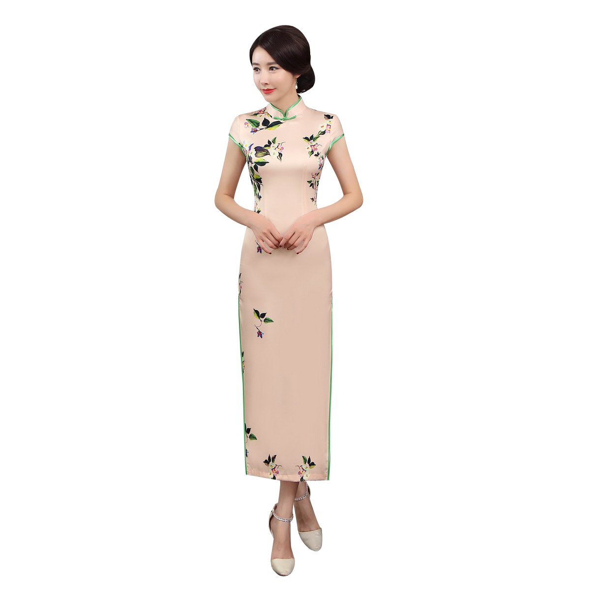 ACVIP Women Cap Sleeve Vintage Chinese Floral Maxi Qipao Side Split Cheongsam (China M/Bust:33.5'')