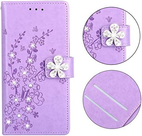あなたの携帯電話を保護する ホルダー&カードスロット付きサムスンギャラクシーJ6(2018)のための梅の花柄のダイヤモンドの囲まれたレザーケース (色 : Plum purple)