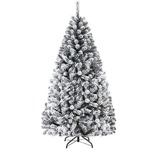 Goplus 6FT Artificial Christmas Tree, Snow Flocked Hinged Pine Tree, Premium PVC Needles/Solid Metal Stand, Xmas Full Tree for Indoor and Outdoor