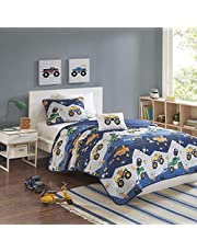 Mizone Kids Quilt Set Reversible Cotton Fill Matchstick Quilting Monster Trucks Printed Brushed Ultra-Soft Down Alternative Hypoallergenic Season Coverlet Quilts Bedding-Set