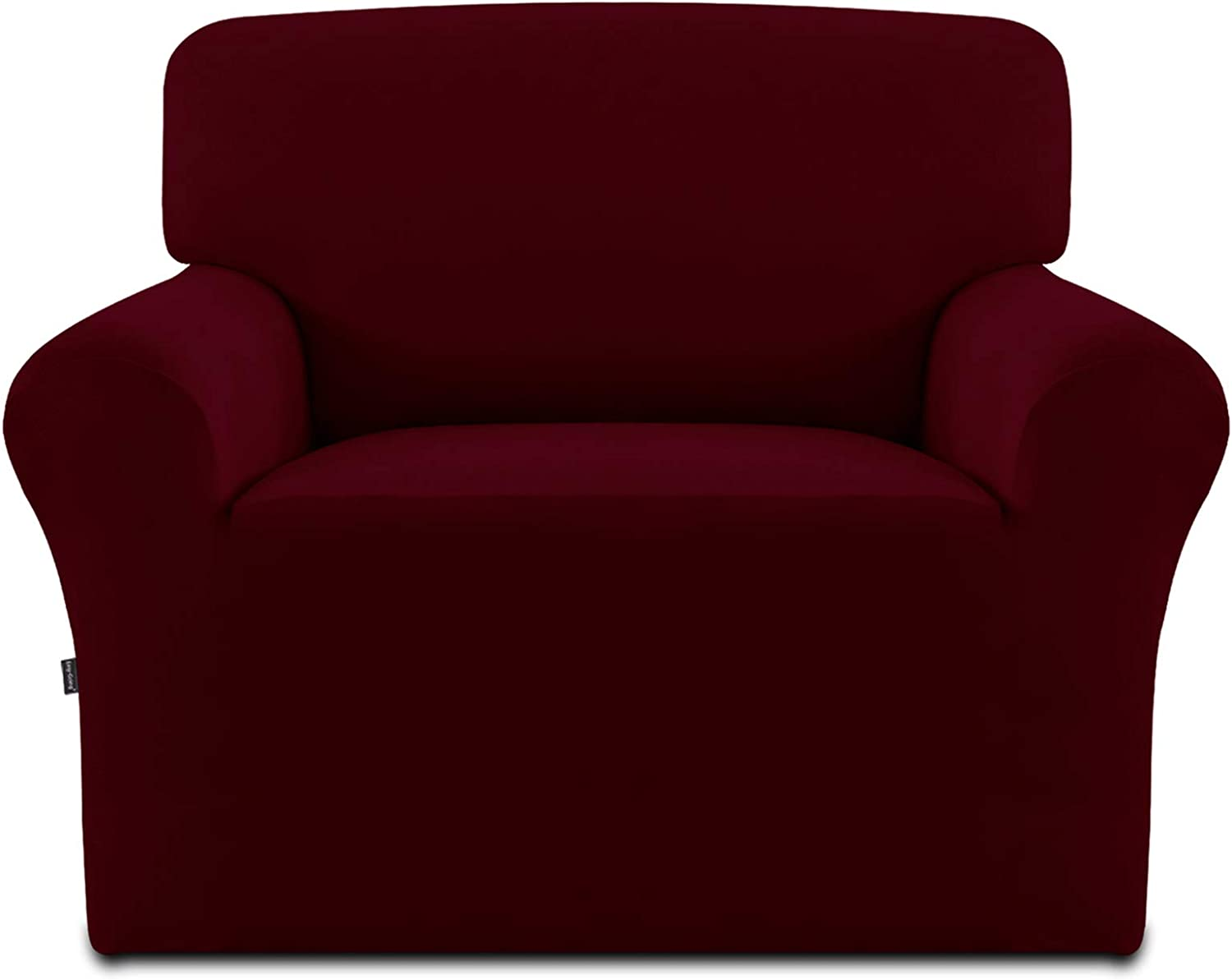 Easy-Going Fleece Stretch Sofa Slipcover – Spandex Anti-Slip Soft Couch Sofa Cover, Washable Furniture Protector with Anti-Skid Foam and Elastic Bottom for Kids, Pets(Chair,Wine)