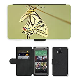 CARD POCKET BOOK CASE PU LEATHER CASE // M00103771 Mariposa de Swallowtail del insecto Macro // HTC One M8