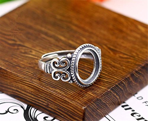 - MFMei 1pc Antique Style Oval Ring Blank, Adjustable Thai Sterling Silver Ring Base (JT022T)