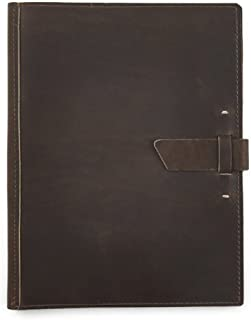 product image for Leather Large Pad Portfolio by Rustico with Hand-Stitched Closure, 10 by 12.5 Inches, Dark Brown, Made in The USA