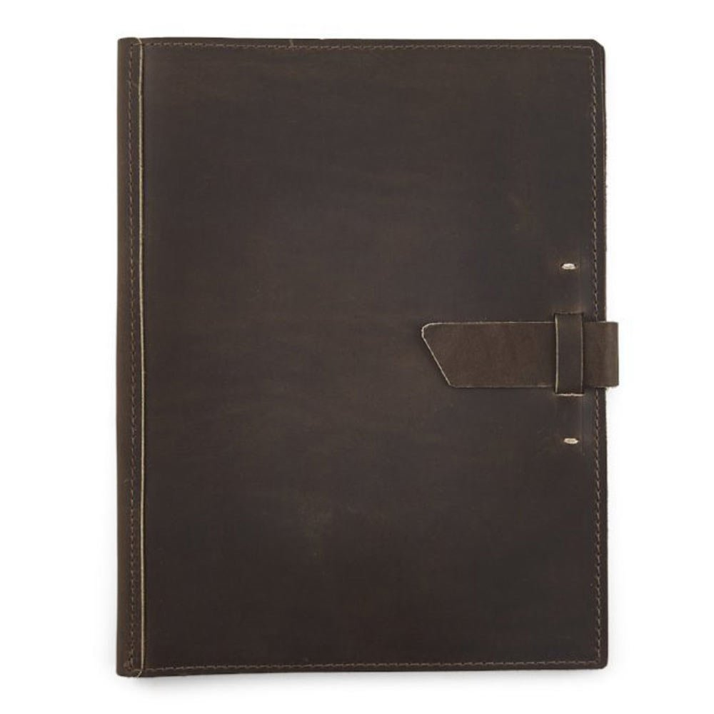 Leather Large Pad Portfolio by Rustico with Hand-Stitched Closure, 10 by 12.5 Inches, Dark Brown, Made in The USA