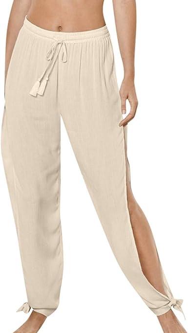 Routinfly Pantalon Informal De Mujer De Cintura Baja Color Liso Pantalones Anchos Para Deporte De Fitness S 3xl Amazon Es Ropa Y Accesorios