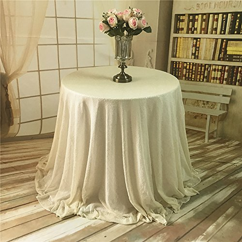 TRLYC 72-Inch Round Cake Ivory Sequin Table Cloth for Wedding Party Banquet