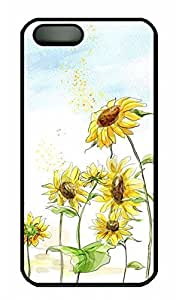 Beautiful Sunflower 3 - iPhone 5 5S Case Funny Lovely Best Cool Customize PC iPhone 5 Cover Black