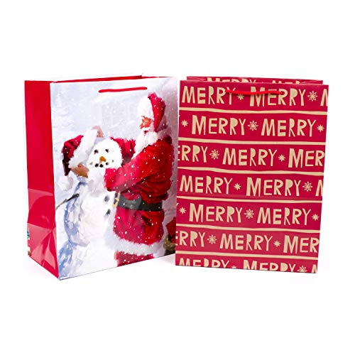 Hallmark Large Christmas Gift Bags, Santa and Merry (2 Pack Assortment with Handles for Wrapping Holiday Gifts)