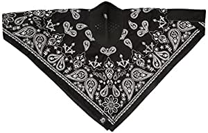 ZANheadgear NeoDanna Paisley 100 Percentage Cotton Bandanna with Neoprene Face Mask (Black)