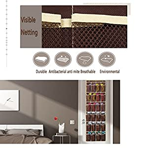 Hippih Over the Door Shoe Organizer with 24 Reinforced Pockets Hang on standard doors with 3 hooks,64'' x 19''