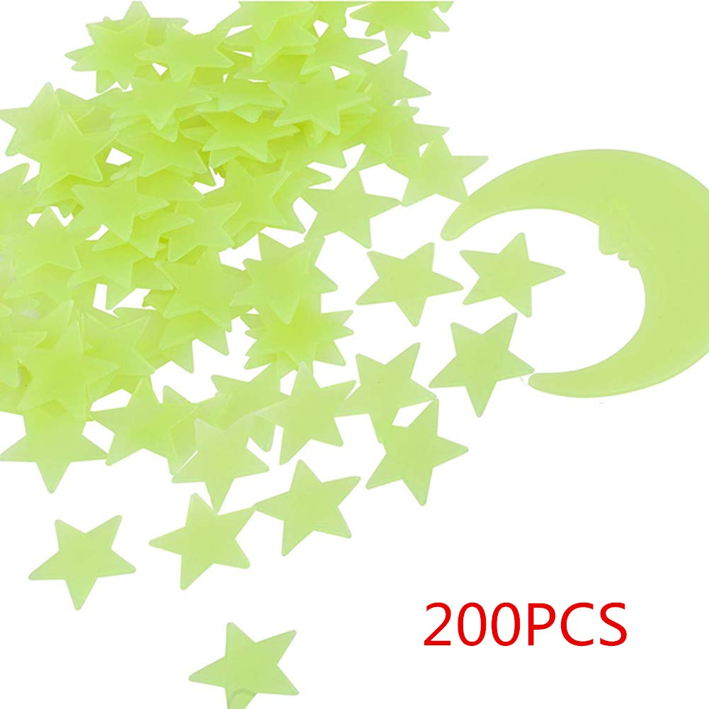 Glow in The Dark Stars - Glow Stars Stickers for Ceiling, Adhesive 250pcs 3D Glowing Stars and Moon for Starry Sky,Wall Decals for Kids Rooms,Wall Stickers for Bedroom(200 Stars,1 Moon)