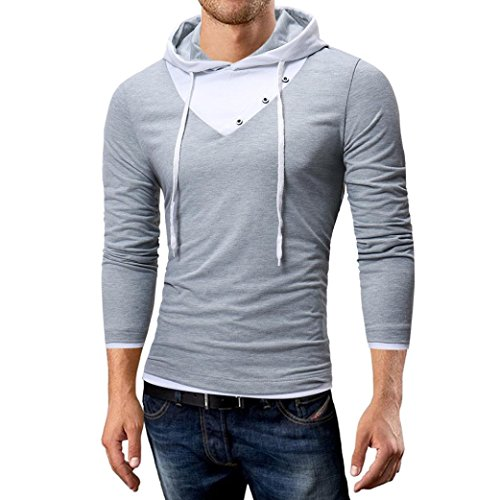 kaifongfu Men's Top,Autumn and Winter Solid Color Hooded for Men Long-Sleeved T-Shirt Top(Gray,2XL)