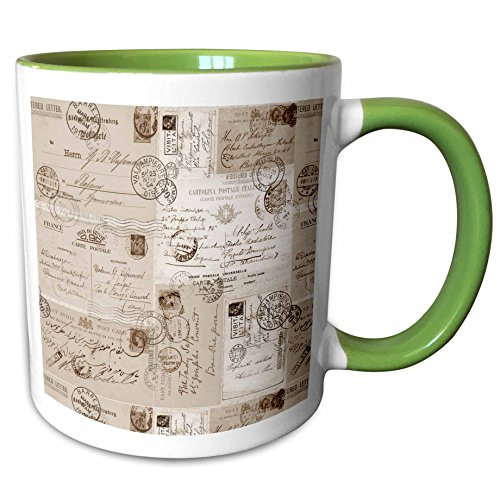 3dRose Andrea Haase Art Illustration - Collage Of Old Letters And Postcards Sepia Color - 11oz Two-Tone Green Mug (mug_268466_7) (Sepia Color Tone)