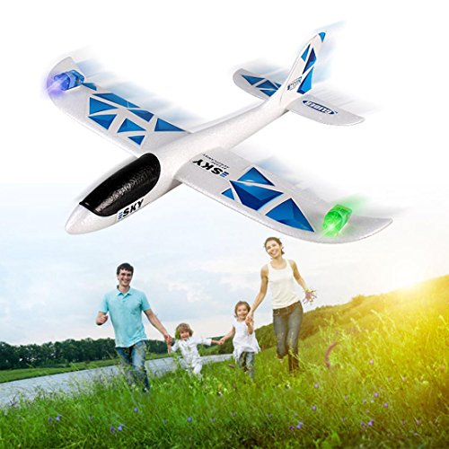Vanvler Foam Throwing Glider Airplane Inertia Led Night Flying Aircraft Toy Hand Launch Airplane Model New
