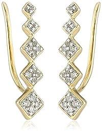 10k Yellow Gold Diamond Geometric Ear Climber Earrings (1/10cttw, I2-I3 Clarity)