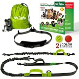 Hands Free Dog Leash for Running Training Walking & Double Dog Leash Coupler Set, Fits 2 Dogs - Bungee Leash & Reflective Leash - Adjustable Waist Belt & Retractable Leashes by Take Yankee