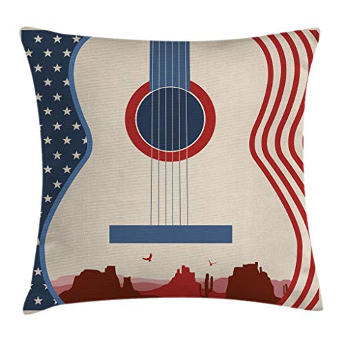 """Ambesonne Music Throw Pillow Cushion Cover, Country Music Festival Event Illustration Guitar with American Flag Design Print, Decorative Square Accent Pillow Case, 18"""" X 18"""", Cream Blue"""