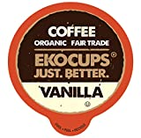 EKOCUPS Artisan Organic Vanilla Flavored Coffee, Medium roast, in Recyclable Single Serve Cups for the keuirg K Cup Brewer, 40 count