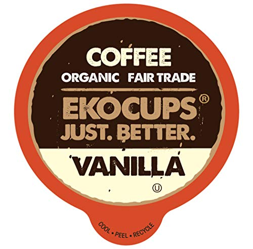 EKOCUPS Artisan Organic Vanilla Flavored Coffee, Medium roast, in Recyclable Single Serve Cups for the keuirg K Cup Brewer, 40 ()