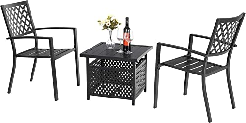 PHI VILLA Outdoor Metal Bistro Side Dining Chair and Umbrella Base Table Outdoor Metal Steel Furniture Set of 3