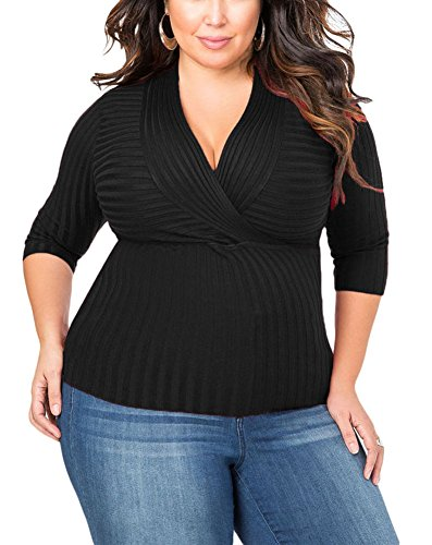 Lalagen Women's Knit 3/4 Sleeve V Neck Slim Fit Plus Size Bodycon Blouse Top Black 1X
