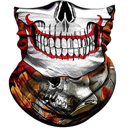 - Obacle Motorcycle Face Mask Sun UV Dust Wind Protection Tube Mask Seamless Bandana Skeleton Face Mask for Men Women Bike Riding Cycling Biker Fishing Outdoor Festival (Skull Roses White Face)