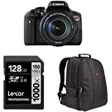 Canon EOS Rebel T6i Digital SLR with EF-S 18-135mm Lens + AmazonBasics DSLR Bag and 128 GB Lexar Memory Card