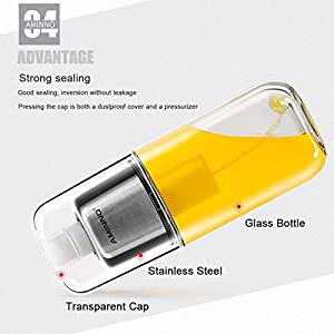 Olive Oil and Cooking Sprayer with Clog-Free Filter and Glass Bottle, Kitchen Sprayer for Air Fryer Cooking BBQ and Salad - Stainless Steel