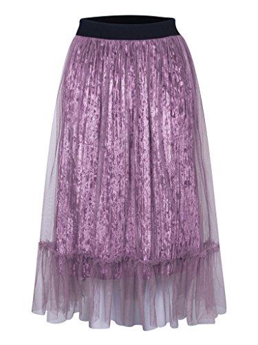 Charles Richards Women's High Waist Basic Pleated A-line Fuchsia Mesh Overlay Ruffle Hem Velvet Midi Pleated Skirt