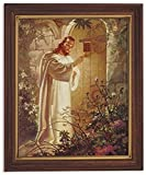 Gerffert Collection Christ at Heart's Door Religious Framed Portrait Print, 13 Inch (Wood Tone Finish Frame)