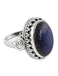 NOVICA Lapis Lazuli .925 Sterling Silver Handcrafted Cocktail Ring, Majestic Blue'