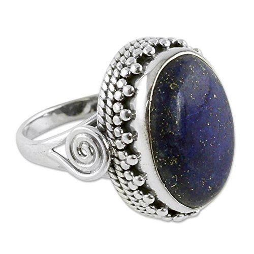 NOVICA Lapis Lazuli .925 Sterling Silver Handcrafted Cocktail Ring, Majestic Blue