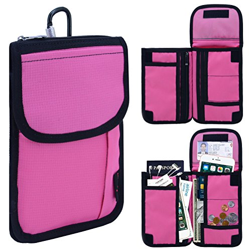 Passport Holder 3 Way With 18 Compartments & Carabiner RFID Blocking Travel Wallet(Pink) (Iphone 6 Plus Covers His & Hers)