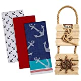 Anchors Away Dishtowels set of 3 with Relax Nautical Wall Signs Rustic Anchor Ships Wheel Décor