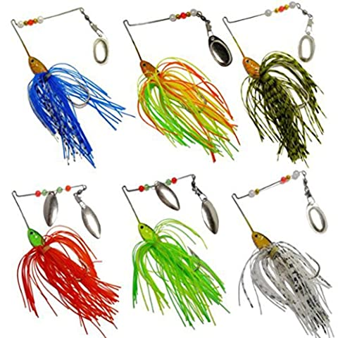 Laimeng,6pc Fishing Hard Spinner Lure Spinnerbait Pike Bass - Wahoo Shorts
