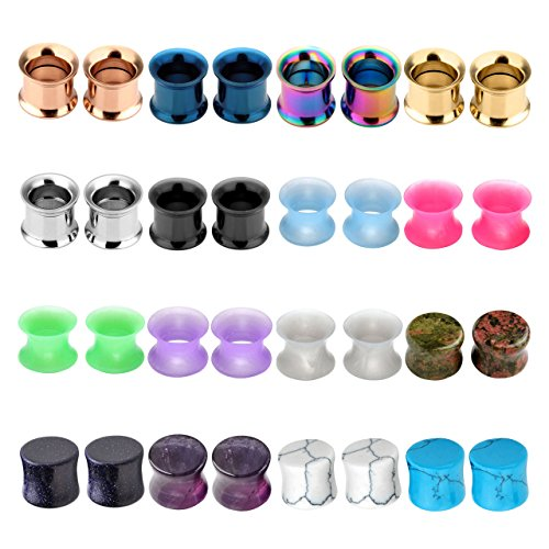 2 Pcs Organic Stone Plugs Stainless Steel Screwed Tunnels Thin Silicone Double Flared Flexible Tunnel Set Ear Plugs Saddle Ear Tunnels Ear Gauges Kit Ear Expander Stretcher Set ()