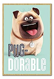 The Secret Life Of Pets Mel Pug-Dorable Poster Magnetic Notice Board Beech Framed - 96.5 x 66 cms (Approx 38 x 26 inches)
