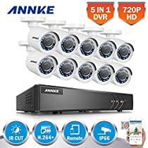 ANNKE 16CH Security Camera System 1080P Lite Video DVR and (10) 1.0MP (1280TVL) Outdoor Bullet Cameras, 66ft Night Vision, NO HDD(White)
