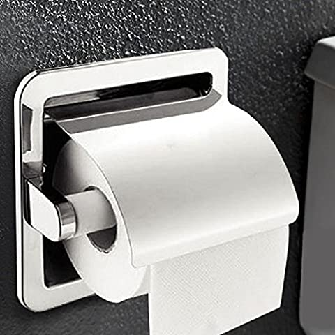 Recessed Paper Holder for Bathroom Storage, Stainless Steel, Polished Chrome - Nickel Recessed Toilet Paper Holder