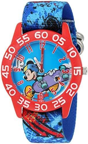 Disney Boy's 'Mickey Mouse' Quartz Plastic and Nylon Watch, Color:Blue (Model: W002994)