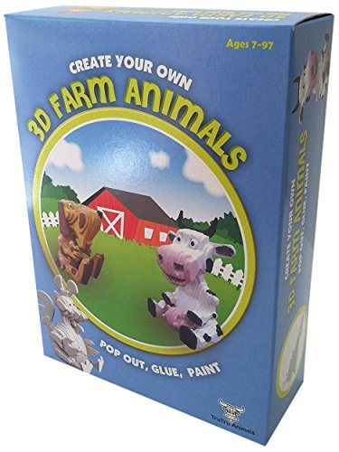TruTru Animals Farm Animals 3D Modeling Box Set; DIY Craft Kit ; Arts and Crafts, Model Kit Recycled Cardboard Pencil